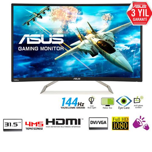 ASUS 31.5 VA326H 4Ms 144Hz M.M D-SUB,DVI-D,HDMI Gaming Monitör Siyah