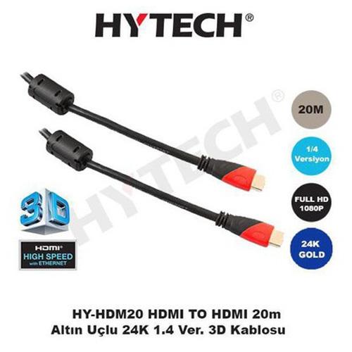 Hytech HY-HDM20 Hdmi to Hdmi ( 20 Metre ) 1.4 Ver. 3D Altın Uç Görüntü Kablosu