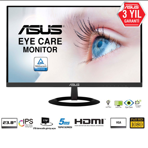 ASUS 23.8 VZ249HE 5Ms 75Hz HDMI,VGA IPS LED Monitör Siyah