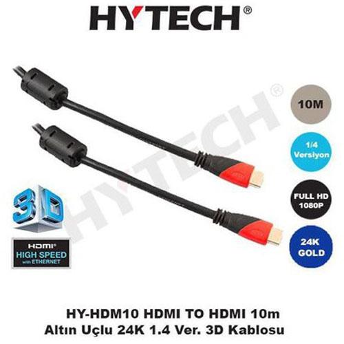 Hytech HY-HDM10 Hdmi to Hdmi ( 10 Metre ) Altın Uç Görüntü Kablosu