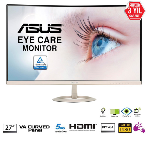 ASUS 27 VZ27VQ 5Ms 60Hz M.M D-Sub+HDMI+DP Full HD Led Monitör Siyah-Gold