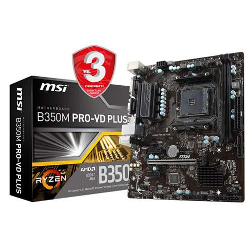 MSI AMD B350M PRO-VD PLUS B350 DDR4 3200 VGA GLAN AM4 USB3.1