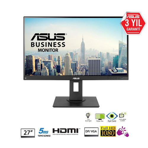 ASUS 27 BE27AQLB 5Ms M.M HDMI+DP+MINI DP+D-DVI-D IPS LED Monitör Siyah