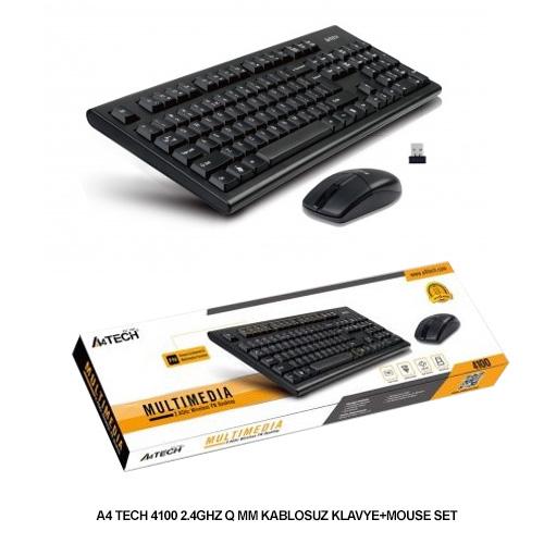 A4 TECH 4100 Q Kablosuz Siyah Multimedya Klavye/Mouse Set