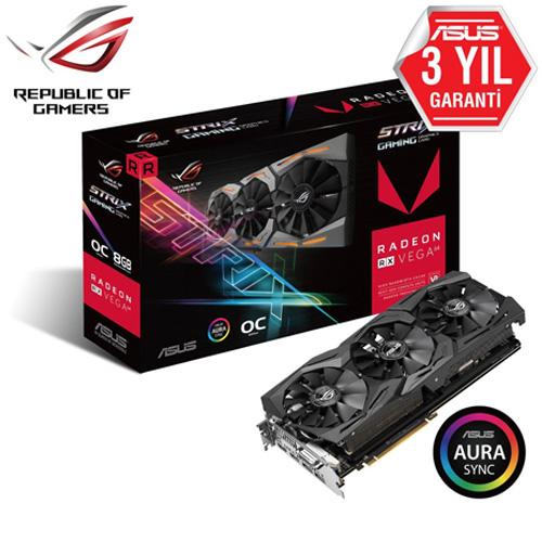 ASUS AMD 8GB RX Vega64 HBM2 2048 Bit ROG-STRIX-RXVEGA64-O8G-GAMING 2xHDMI 2xDP DVI
