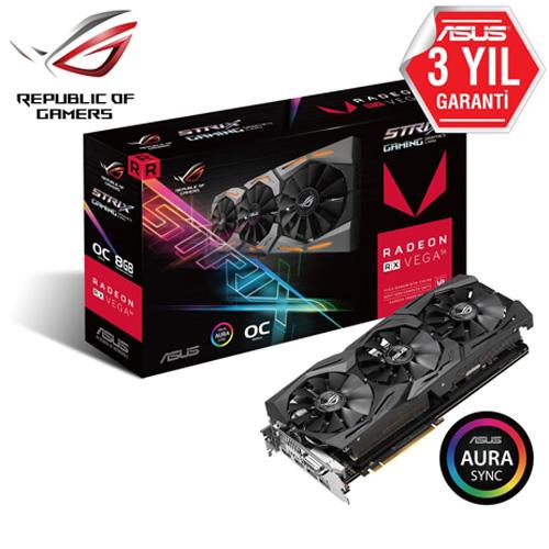 ASUS AMD 8GB RX Vega56 GAMING HBM2 2048 Bit ROG-STRIX-RXVEGA56-O8G-GAMING 2xHDMI DVI-D 2xDP