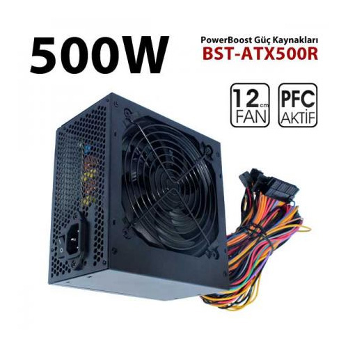 POWERBOOST QUARK BST-ATX500R 500W Atx Power Supply 12 Cm Kırmızı Fan Kutu + Kablolu