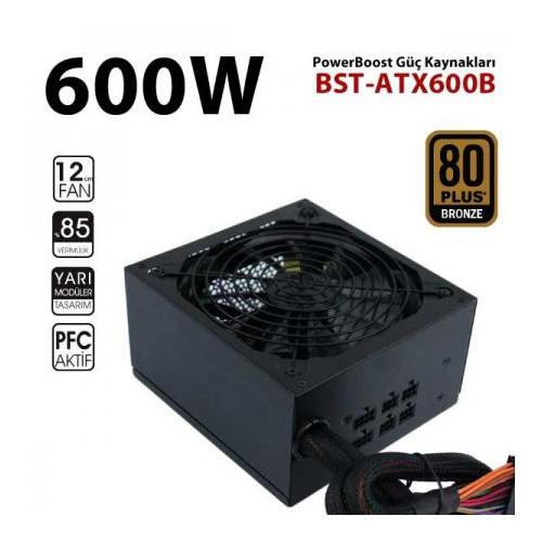 PowerBoost BST-ATX600B 600W 80+ Bronze Atx Power Supply 12 Cm Kırmızı Fan Kutu + Kablolu