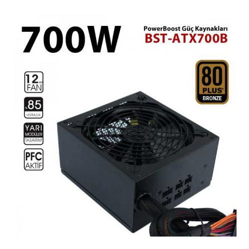 PowerBoost BST-ATX700B 700W 80+ Bronze Atx Power Supply 12 CM SİYAH FAN Kutu + Kablolu