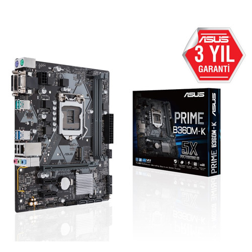 ASUS INTEL PRIME B360M-K B360 DDR4 2666 VGA GLAN 1151p-8 M.2 SATA USB3.1