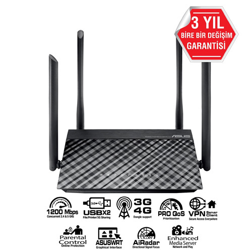 ASUS RT-AC1200 300+867Mbps 4 Port GBit Wireless Vpn 4 x Dış Anten Router 3G Destekli