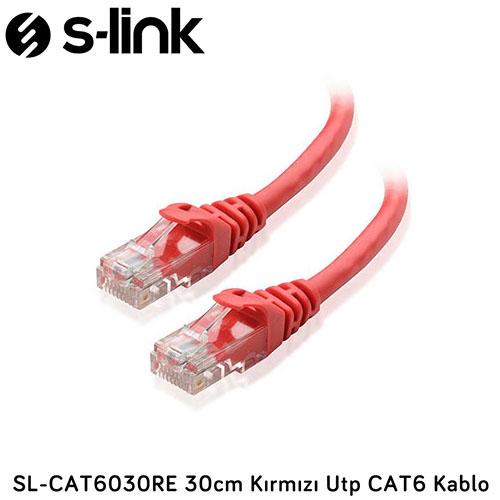S-LINK SL-CAT6030RE Cat6 Utp 30cm Kırmızı Patch Kablo