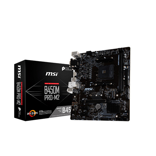MSI AMD B450M PRO-M2 B450 DDR4 3466(OC) DVI VGA HDMI GLAN AM4 M.2 USB3.1 mATX