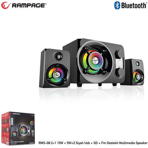 RAMPAGE RMS-G8 2+1 25W RMS Usb+SD+FM Bluetooth Siyah Multimedia Speaker
