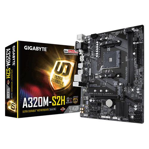 GIGABYTE AMD GA-A320M-S2H A320 DDR4 M2 NVME HDMI DVI PCIE 16X V3.0 AM4 MATX
