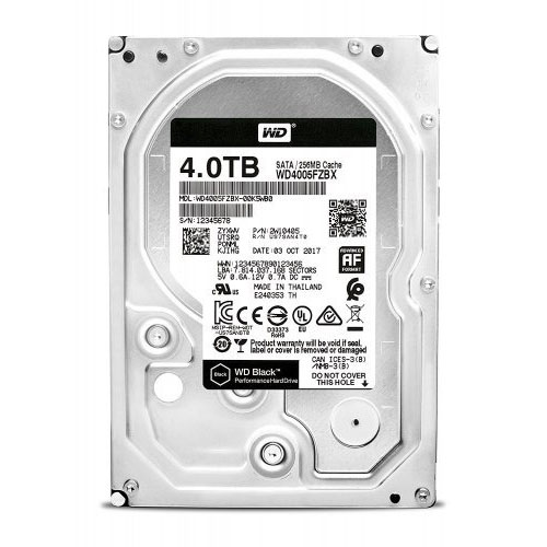 WD 3.5 Black 4TB 7200 RPM 256MB SATA3 PC HDD WD4005FZBX