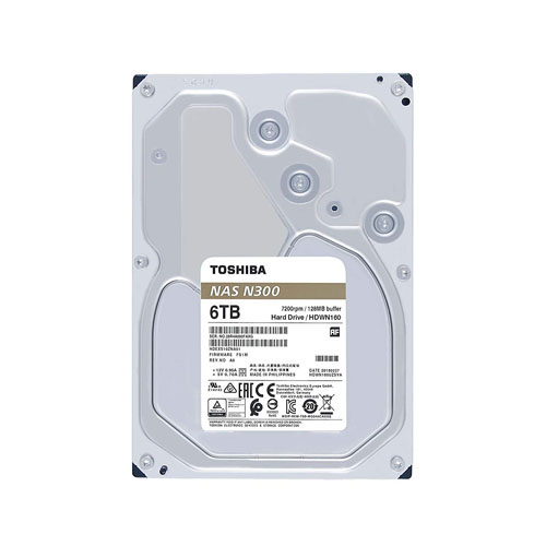 TOSHIBA 3.5 N300 6TB 7200RPM 128MB SATA3 NAS HDD HDWN160UZSVA
