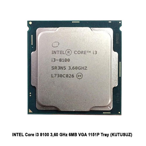 INTEL Core i3 8100 3,60 GHz 6MB VGA 1151P Tray Fansız