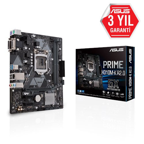 ASUS INTEL PRIME H310M-K R2.0 H310 DDR4 2666 VGA GLAN 1151P USB 3.1
