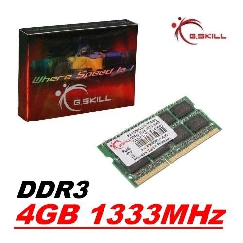 GSKILL Value 4GB 1333Mhz DDR3 CL9 Notebook Ram F3-10666CL9S-4GBSQ SO-DIMM