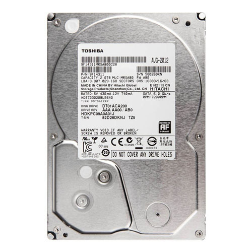 TOSHIBA 3.5 2TB 7200 RPM 64MB SATA3 PC HDD DT01ACA200