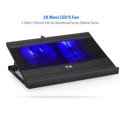 TX HIGH LINE TXACNBHL Alüminyum 2x120mm Fanlı Notebook Soğutucu