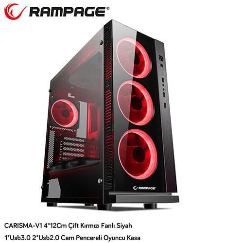 RAMPAGE CARISMA-V1 PSU Yok Mid Tower Gaming Kasa Kırmızı Led Fanlı Pencereli