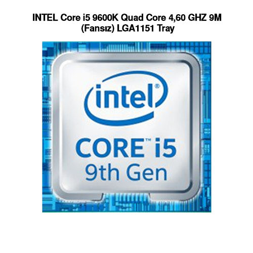 INTEL Core i5 9600K Quad Core 4,60 GHZ 9M (Fansız) LGA1151 Tray