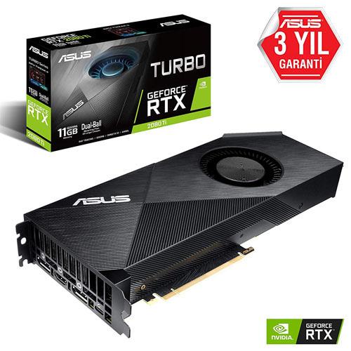 ASUS Nvidia 11GB RTX 2080 Tİ GDDR6 352 Bit TURBO-RTX2080TI-11G HDMI 2xDP