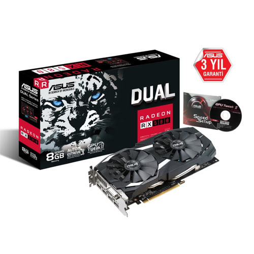 ASUS AMD 8GB RX 580 GDDR5 256 Bit DUAL-RX580-8G 2xHDMI 2xDP