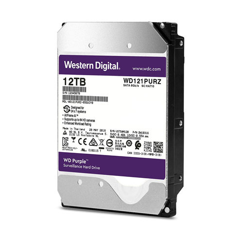 WD 3.5 PURPLE 12TB INTELLIPOWER 256MB SATA3 Güvenlik HDD WD121PURZ (7/24)