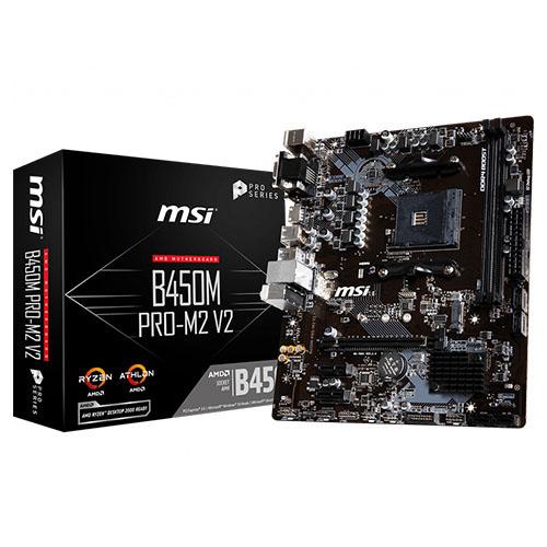MSI AMD B450M PRO-M2 V2 B450 DDR4 3466(OC) DVI VGA HDMI GLAN AM4 M.2 USB3.1 mATX