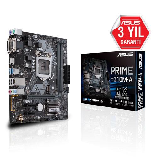 ASUS INTEL PRIME H310M-A R2.0 H310 DDR4 2666 VGA GLAN 1151p-8 M.2 SATA USB3.1