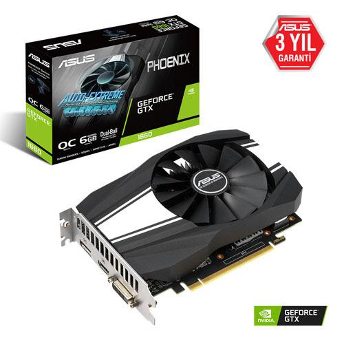 ASUS Nvidia 6GB GTX1660 GDDR6 192 Bit PH-GTX1660-O6G 2XHDMI DVI 2xDP