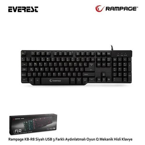 RAMPAGE KB-R8 Usb/Q Mekanik Hisli 3 Renk Aydınlatmalı Gaming Klavye