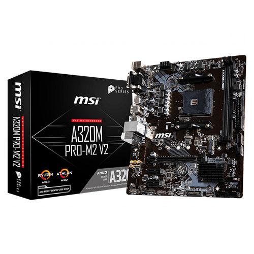 MSI AMD A320M PRO-M2 V2 A320 DDR4 3200(OC) DVI VGA HDMI GLAN AM4 M.2 USB3.1 mATX