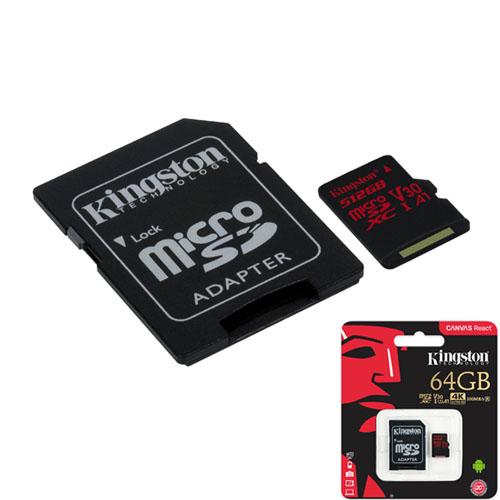 KINGSTON 64GB microSDXC Canvas React 100R/80W U3 SDCR/64GB
