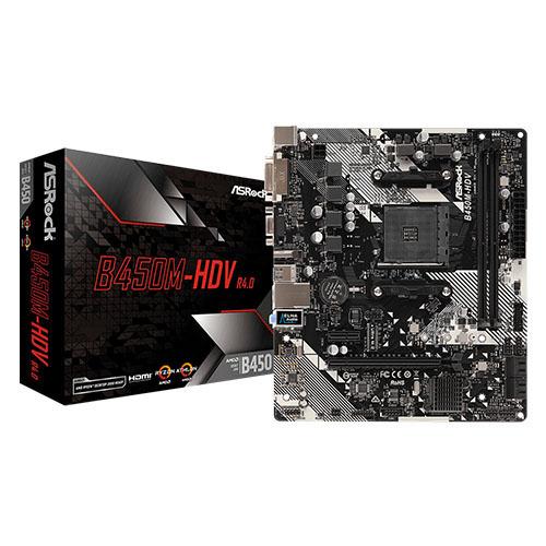 ASROCK AMD B450M-HDV R4 B450 DDR4 3200(OC) DVI HDMI DP AM4 M.2 USB3.1 mATX