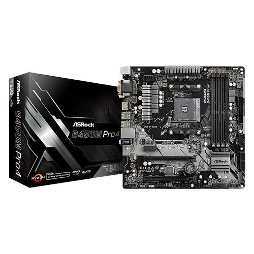 ASROCK AMD B450M Pro4 B450 DDR4 3200(OC) DVI HDMI DP AM4 M.2 USB3.1 mATX