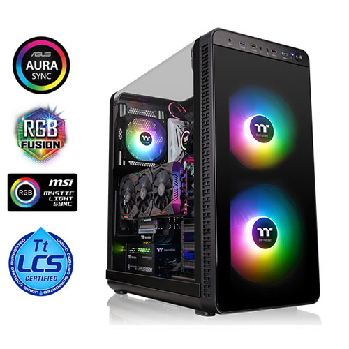 THERMALTAKE VIEW 37 ARGB CA-1J7-00M1WN-04 PSU Yok Mid Tower Gaming Kasa SPCC Siyah RGB TEMPERED GLASS