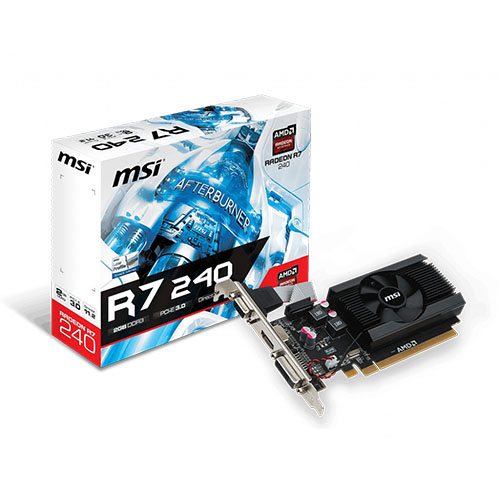 MSI AMD 2GB R7 240 2GD3 64b LP DDR3 (64 Bit) (1XVGA 1XDVI 1XHDMI) DX12 PCIE 3.0 X16 HDMI
