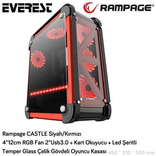 RAMPAGE Castle / Siyah PSU Yok Gaming Kasa Çelik Gövde 4x12cm RGB + Kart Okuyucu