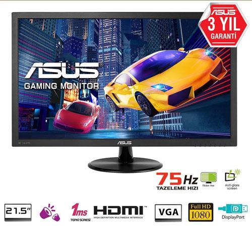 ASUS 21.5 VP228QG 1Ms 75Hz MM Gaming D-Sub+HDMI+DP Full HD Led Monitör Siyah
