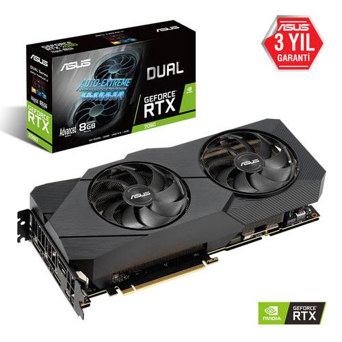ASUS Nvidia 8GB RTX 2080 GDDR6 256 Bit DUAL-RTX2080-A8G-EVO 3xDP HDMI