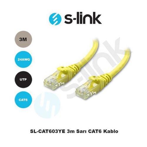 S-LINK SL-CAT603YE Cat6 Utp ( 3 Metre ) Sarı Patch Kablo