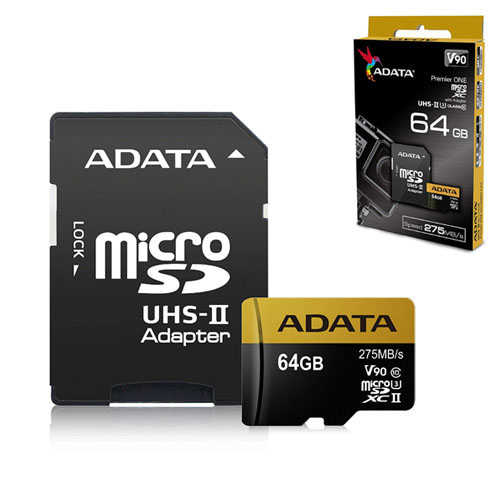 A-DATA 64GB Premier ONE microSDXC UHS-II U3 275/155MB/s Class 10 AUSDX64GUII3CL10-CA1