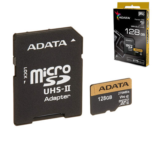 A-DATA 128GB Premier ONE microSDXC UHS-II U3 275/155MB/s Class 10 AUSDX128GUII3CL10-CA1