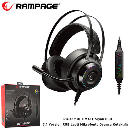 Rampage RG-X19 Ultimate 7.1 RGB Ledli Gaming Kulaklık Siyah
