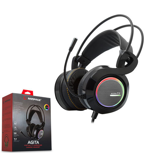 Rampage RM-23 Agita 7.1 Surround Gaming Mikrofonlu Kulaklık RGB Ledli Titreşimli Siyah