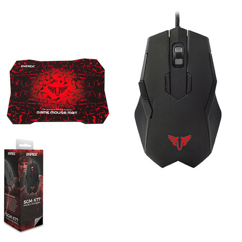 Everest SGM-X77 Usb Siyah Gaming Mouse+Mouse Pad